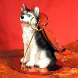 Husky Zwart-wit met blauwe...